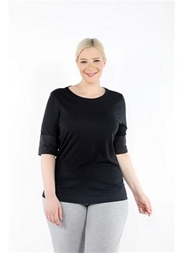 Luokk Tım Yuvarlak Yaka Rahat Kesim Kadın T-Shirt Siyah